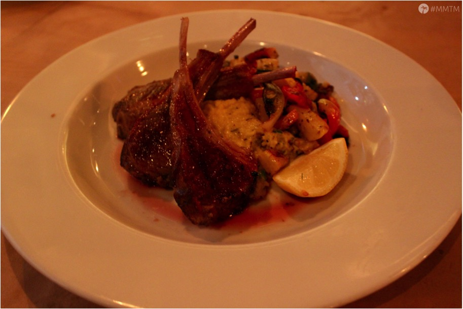 New Zealand Rack of Lamb served with creamy polenta and ratatouille