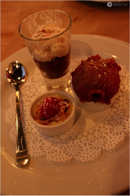 Dessert Sampler: Chocolate Mousse, Creme Brulee, and Fried Oreos